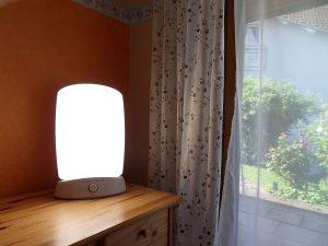 Lichttherapie: Tageslichtlampe neben geöffnetem Fenster, Credit: Unsplash