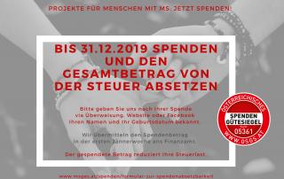 Projekte für Menschen mit MS: Bis 31.12.2019 spenden und den Gesamtbetrag von der Steuer absetzen! #Spenden #Spendenguetesiegel https://www.msges.at/2019/12/spenden-und-steuern-sparen/
