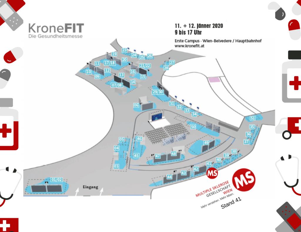 Die Multiple Sklerose Gesellschaft Wien informiert am 11. und 12. Jänner 2020 bei der Krone Fit. Die Gesundheitsmesse am Erste Campus Wien in unmittelbarer Nähe des Hauptbahnhofs über Themen rund um das Leben mit MS.