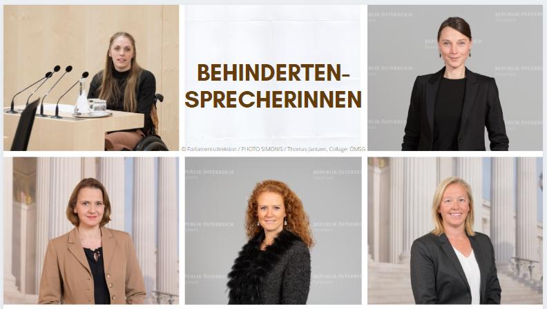 Behindertensprecherinnen: Kira Grünberg, Heike Grebien, Verena Nussbaum, Dagmar Belakowitsch und Fiona Fiedler © Parlamentsdirektion / PHOTO SIMONIS / Thomas Jantzen, Collage: ÖMSG