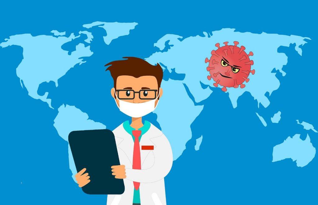Illustration Coronavirus: Arzt mit Mundschutz vor blauer Weltkarte, dahinter Coronavirus mit Augen und Mund, Credit: mohamed Hassan auf Pixabay
