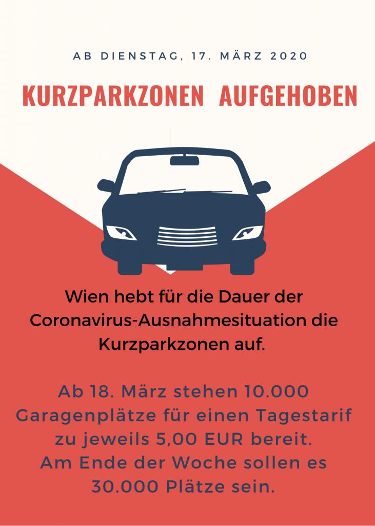 Wien hebt für die Dauer der Coronavirus-Ausnahmesituation die Kurzparkzonen auf. Ab 18. März stehen 10.000 Garagenplätze für einen Tagestarif zu jeweils 5,00 EUR bereit. Am Ende der Woche sollen es 30.000 Plätze sein.