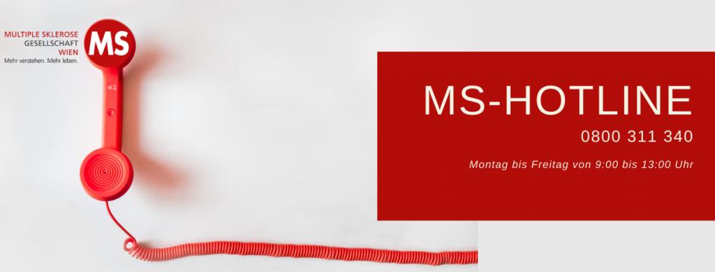 Roter Telefonhörer, Text: MS-Hotline 0800 311 340. Montag bis Freitag von 9:00 bis 13:00 Uhr