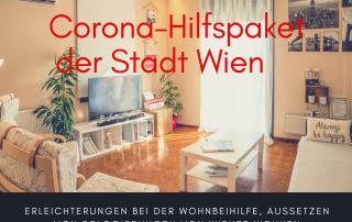 Bild mit Wohnzimmer, Text: Corona-Hilfspaket der Stadt Wien Erleichterungen bei der Wohnbeihilfe, Aussetzen von Delogierungen von Wiener Wohnen