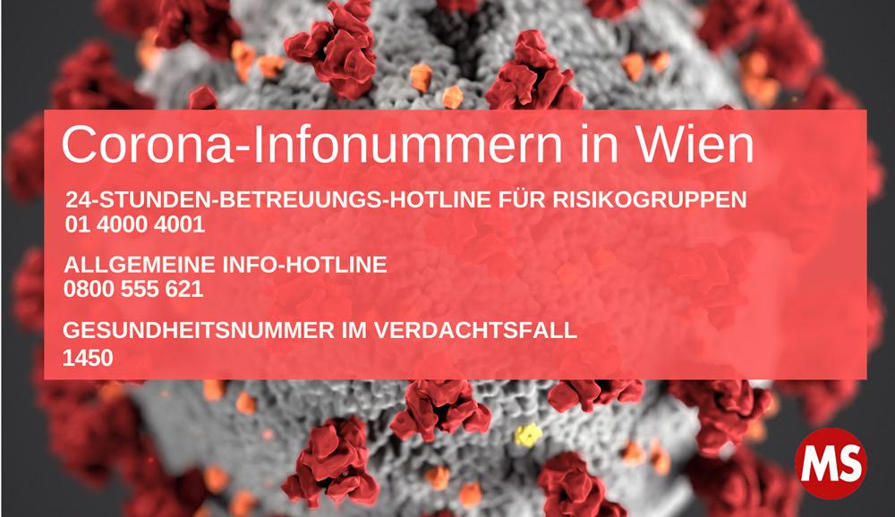 Corona-Infonummern in Wien