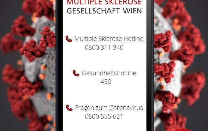 Bei Fragen rund um das Leben mit Multipler Sklerose wenden Sie sich bitte an die MS-Hotline unter der Telefonnummer 0800 311 340. Unter der Telefonnummer 0800 555 621 können Sie rund um die Uhr Fragen rund um das Coronavirus stellen. Sollten Sie Symptome aufweisen, rufen Sie bitte bei der Gesundheitshotline unter der Telefonnummer 1450 an.