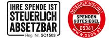 Spendengütesiegel der MS-Gesellschaft Wien, Text: Ihre Spende ist steuerlich absetzbar