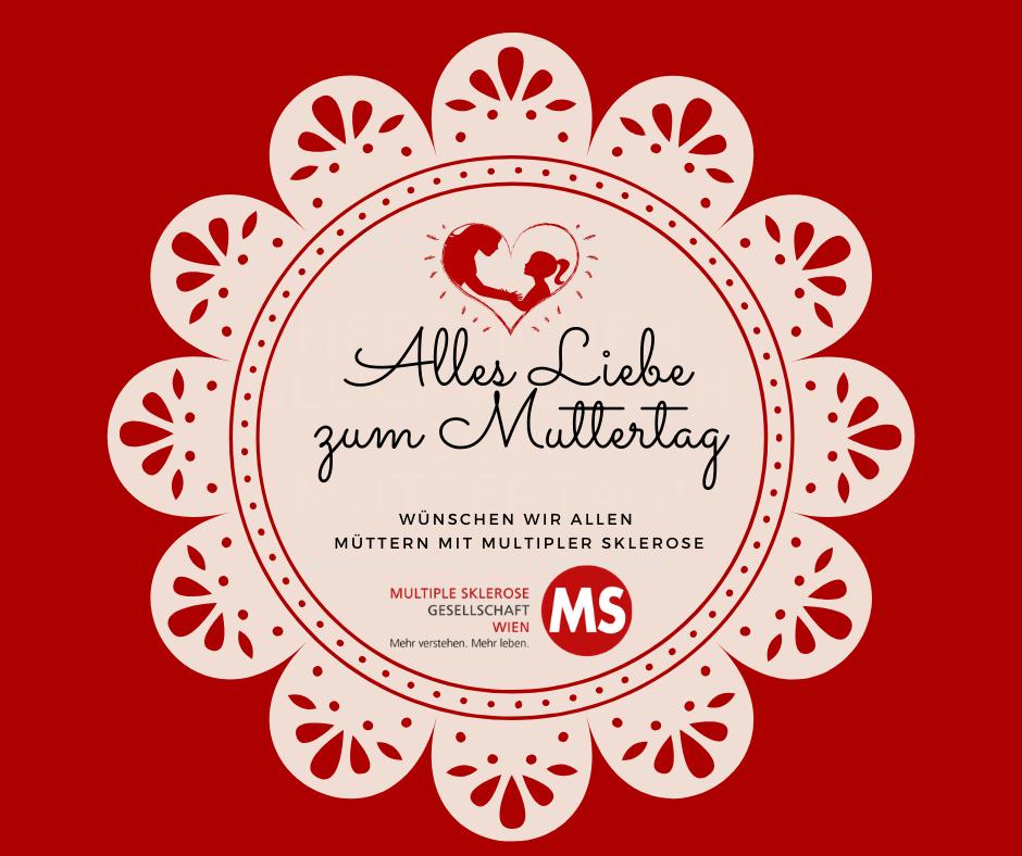 Illustration: roter Hintergrund mit Text Alles Liebe zum Muttertag
