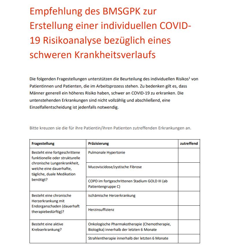 Empfehlung des BMSGPK zur Erstellung einer individuellen COVID19 Risikoanalyse bezüglich eines schweren Krankheitsverlaufs, Credit: BMSGKP