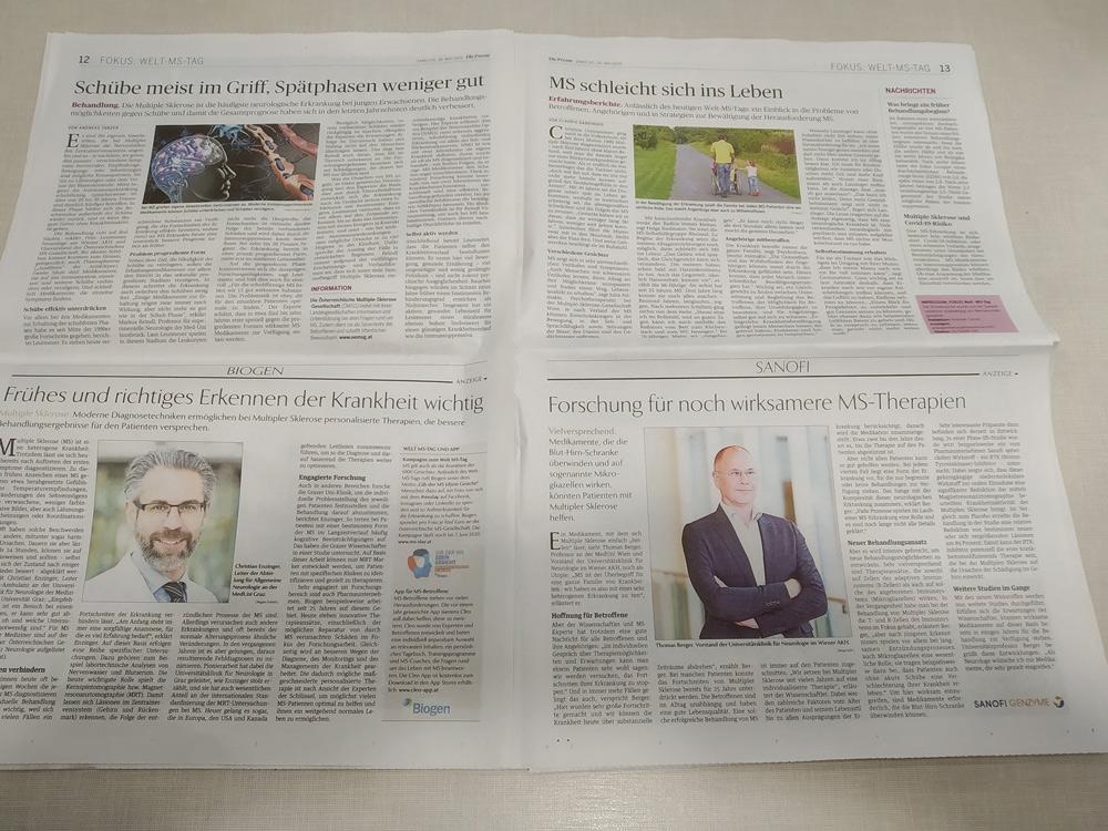 Fokus Welt-MS-Tag, Die Presse, 30. Mai 2020