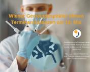 Nahaufnahme Arzt hält Spritzen ind er Hand, Text: Wiener Gemeindespitäler öffnen Terminambulanzen am 18. Mai
