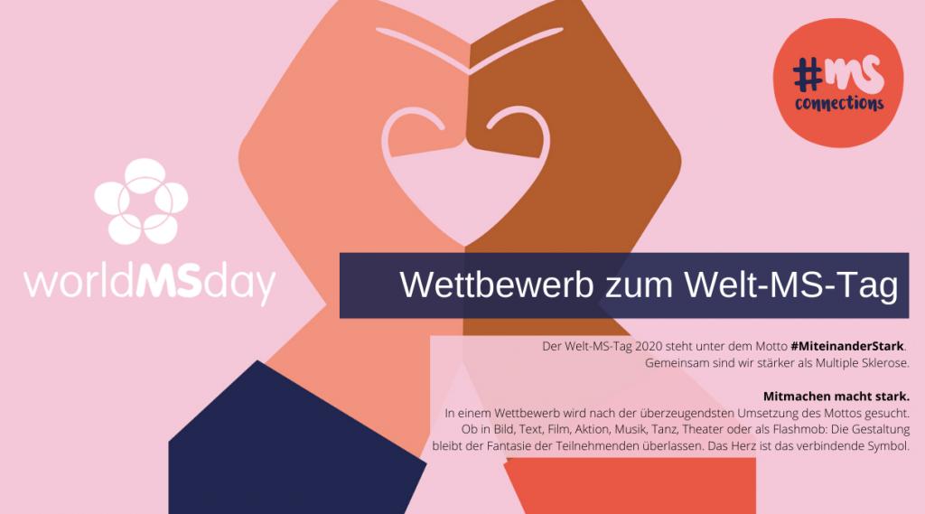 Illustration mit zu einem Herz geformten Händen. Text: Wettbewerb zum Welt-MS-Tag. Jetzt mitmachen!