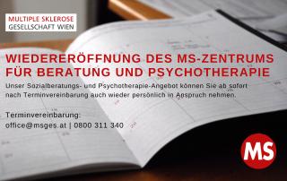aufgeschlagener Kalender, Text: Wiedereröffnung des MS-Zentrums für Beratung und Psychotherapie. Unser Sozialberatungs- und Psychotherapie-Angebot können Sie ab sofort nach Terminvereinbarung auch wieder persönlich in Anspruch nehmen.