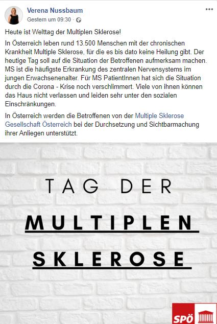 Verena Nussbaum, SPÖ-Sprecherin für Menschen mit Behinderungen, macht auf den Welt-MS-Tag aufmerksam. Screenshot Facebook