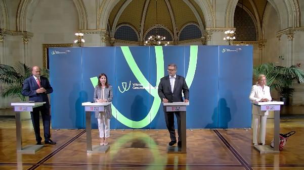 """Mediengespräch """"Umbennungsprozess des KAV in Wiener Gesundheitsverbund beginnt"""" vom 3. Juni 2020 mit Peter Hacker, Herwig Wetzlinger, Nina Brenner-Küng und Susanne Jonak"""