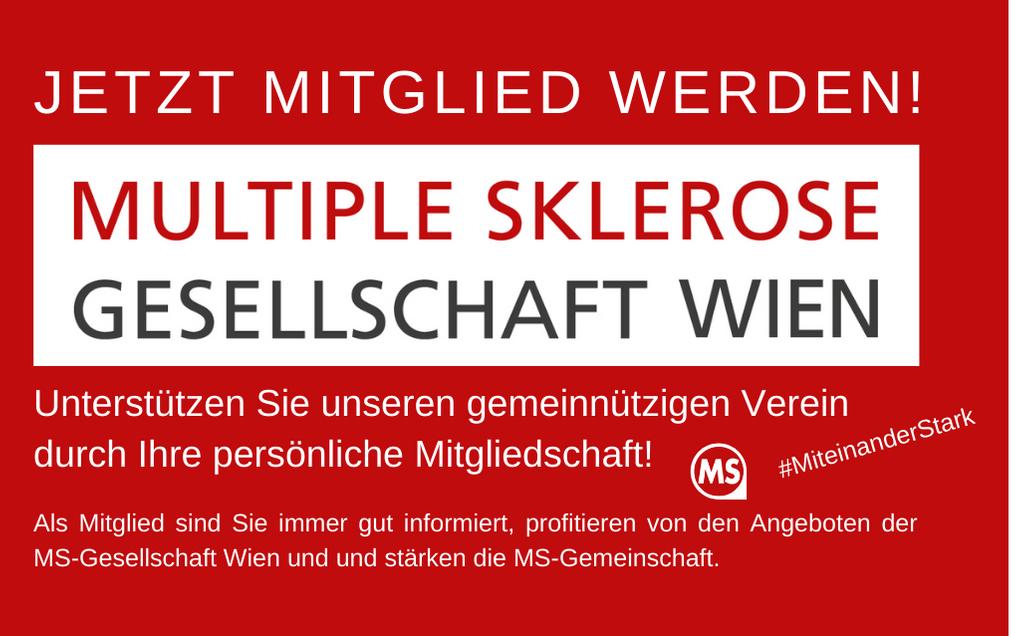 Jetzt Mitglied werden! Unterstützen Sie unseren gemeinnützigen Verein durch Ihre persönliche Mitgliedschaft! Als Mitglied sind Sie immer gut informiert, profitieren von den Angeboten der MS-Gesellschaft Wien und und stärken die MS-Gemeinschaft.