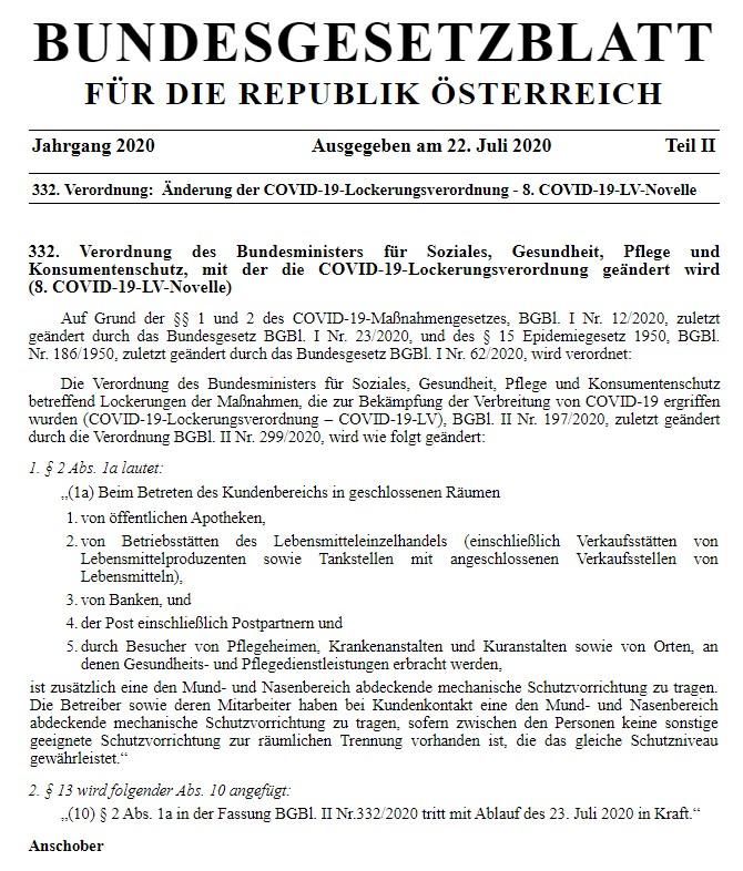 332. Verordnung des Bundesministers für Soziales, Gesundheit, Pflege und Konsumentenschutz, mit der die COVID-19-Lockerungsverordnung geändert wird (8. COVID-19-LV-Novelle)