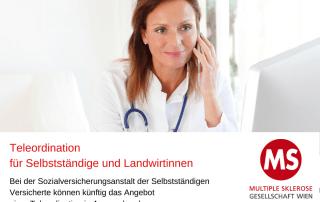 telefonierende Ärztin, Text: Teleordination für Selbstständige und Landwirtinnen, Foto: Canva