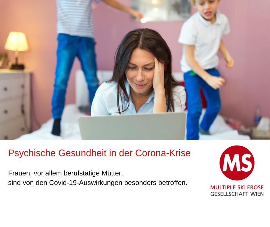Mutter sitzt auf Bett, arbeitet am Laptop, 2 Kinder springen auf dem bett, Text: Psychische Gesundheit in der Corona-Krise. Frauen, vor allem berufstätige Mütter, sind von den Covid-19-Auswirkungen besonders betroffen. Foto: Canva