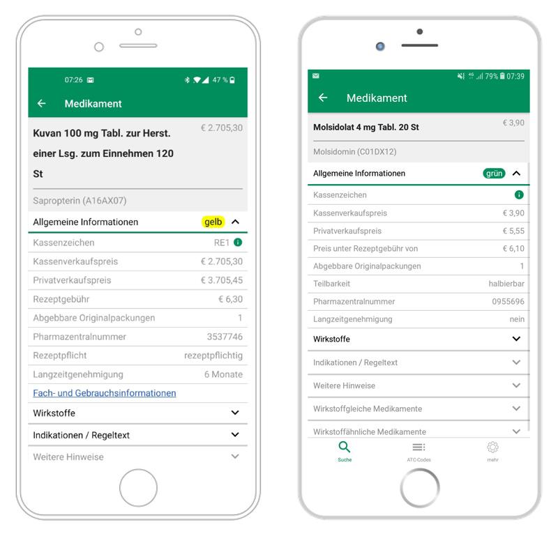 Screenshot EGO2go, EKO2go ist die App zum Infotool des Erstattungskodex. Die App bietet die Möglichkeit, Medikamente und Wirkstoffe sowie die dazugehörenden Details zu suchen. Darüber hinaus kann eine Übersicht über therapeutische Alternativen im Erstattungskodex abgerufen werden. Es wird - via Update-Mechanismus - jeweils der aktuelle Stand des Erstattungskodex wiedergegeben. Mit EKO2go erhalten Sie jederzeit Zugriff auf sämtliche Informationen zum Grünen und Gelben Bereich des Erstattungskodex.
