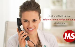 Foto: Ärztin telefoniert. Text: ÖGK und SVS führen telefonische Krankschreibung wieder ein. Credit: Canva