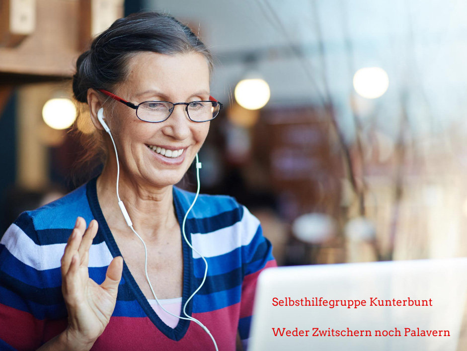 Frau nimmt an Web-Konferenz teil und winkt in die Laptop-Kamera, Text: Slbsthilfegruppe Kunterbunt, Fotocredit: Canva