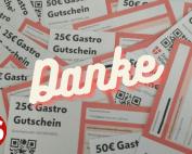 """Wiener Gastrogutscheine und Aufschrift """"Danke"""""""