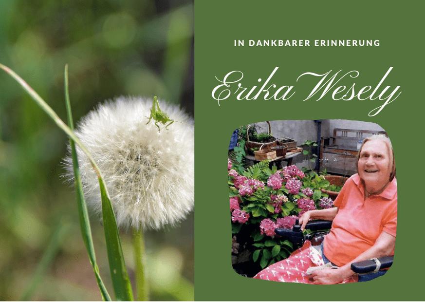 In dankbarer Erinnerung an Erika Wesely