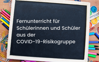 Tablet liegt auf Stiften, Text: Fernunterricht für Schülerinnen und Schüler aus der COVID-19-Risikogruppe. Credit: Canva
