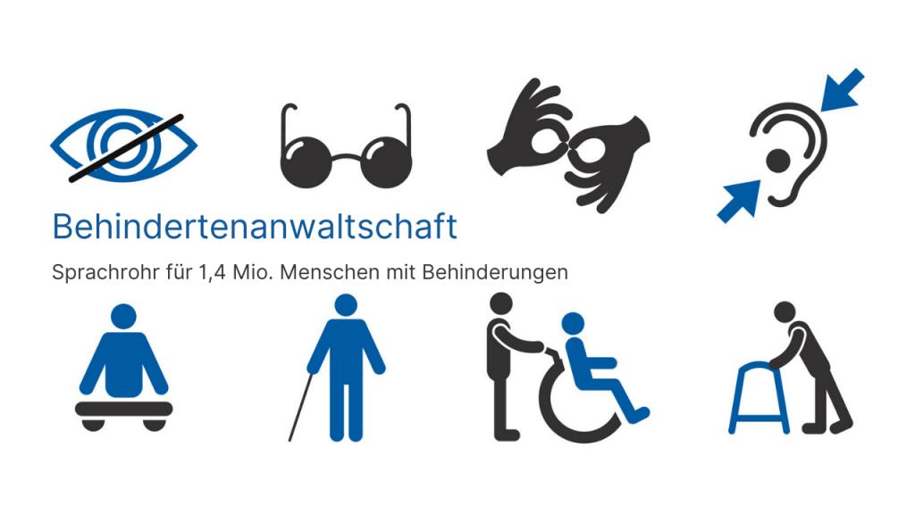 Symbolbilder unterschiedlicher Behinderungen, Text: Behindertenanwaltschaft. Sprachrohr für 1,4 Mio. Menschen mit Behinderungen, Credit: Canva