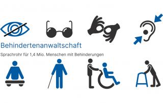 Symbolbilder unterschiedlicher Behidnerungen, Text: Behindertenanwaltschaft Sprachrohr für 1,4 Mio. Menschen mit Behinderungen, Credit: Canva