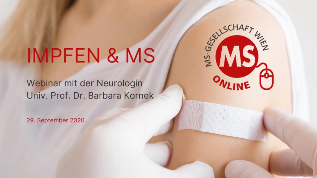 """Kostenloses Webinar """"Impfen und Multiple Sklerose"""" mit der Neurologin Univ. Prof. Dr. Barbara Kornek am 29. September 2020 von 17:00 bis 18:00 Uhr."""