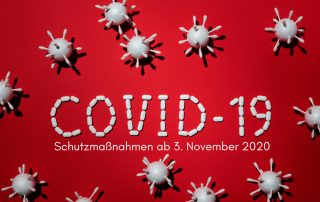 Bild_ Coronavirus, Text: Covid-19-Schutzmaßnahmen ab 3. November 2020, Credit: Canva