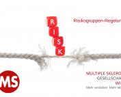 """beinahe zerrissenes Seil, Wort """"RISK"""", Text: Risikogruppen-Regelung, Credit: Canva"""