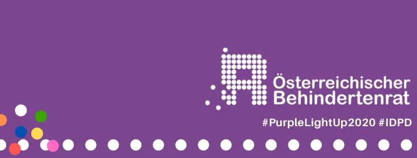 Logo Behindertenrat auf lila Hintergrund