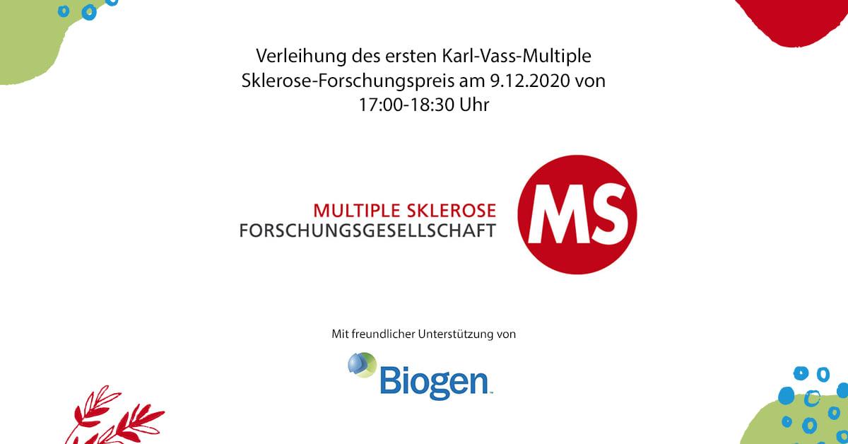 Der Karl-Vass-Multiple Sklerose-Forschungspreis wird am 9. Dezember 2020 an den Preisträger Dr. Gabriel Bsteh übergeben.