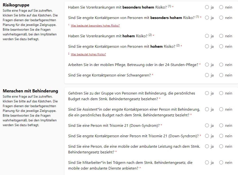 Corona-Schutzimpfungs-Vormerkung in der Steiermark