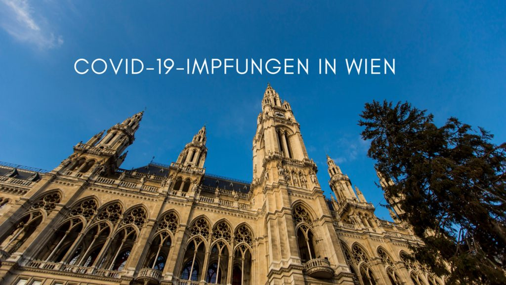 Wiener Rathaus, Text: Covid-19-Impfung in Wien, Credit: Canva