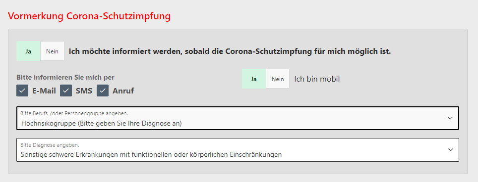 Screenshot: Vormerkung Corona-Schutzimpfung