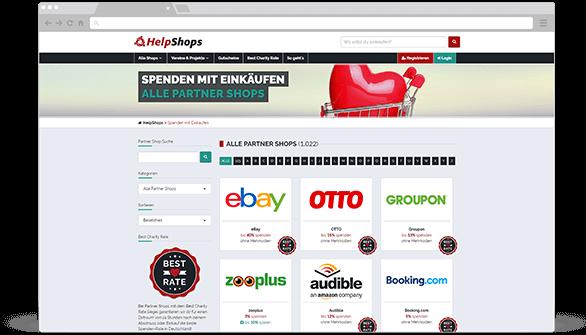Spenden mit Einkäufen in Partner-Shops von HelpShops