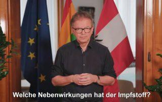 Screenshot YouTube: Gesundheitsminister Rudi Anschober beantwortet Fragen zur Corona-Impfung für Menschen mit Lernbehinderungen in leichter Sprache.