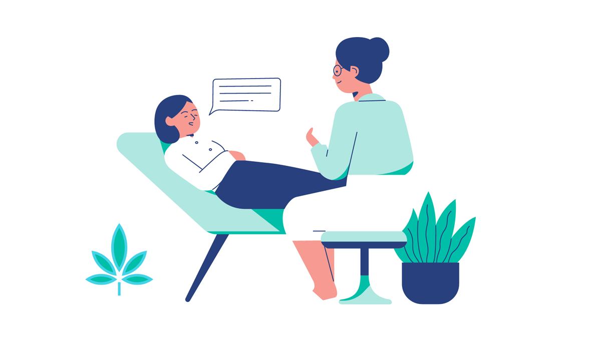 Illustration: Frau liegt auf einer Liege, Therapeutin sitzt auf einem Stuhl, daneben Pflanzen, Credit: Canva
