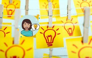 glebe Haftnotizen, Grafik einer Frau mit einer Idee, Credit: Canva