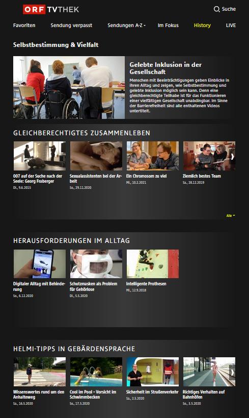 Im Bild: neue Videoarchivs zum Thema Inklusion und Barrierefreiheit. Fotocredit:ORF/Tvthek