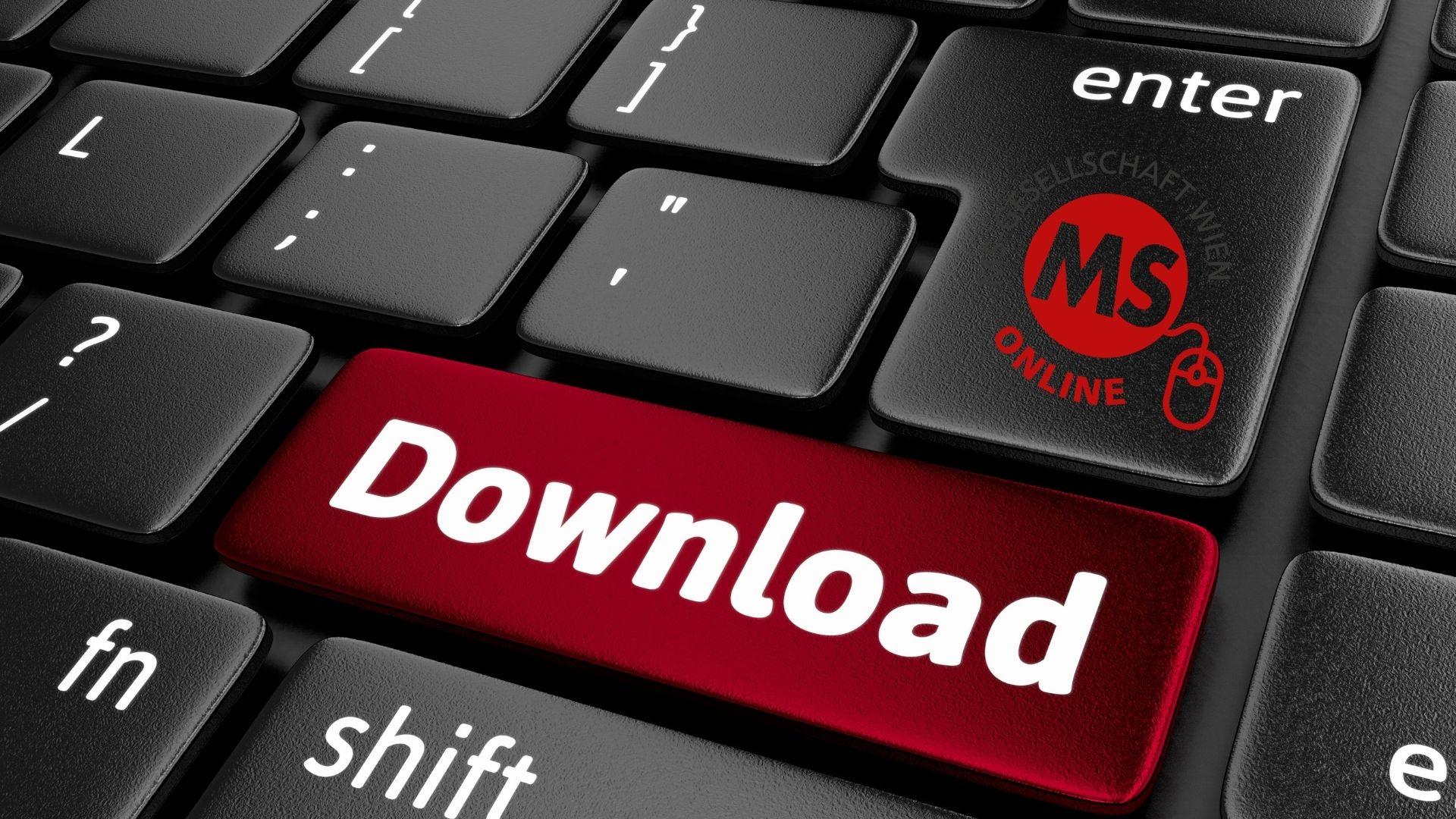 """Infomaterial Multiple Sklerose downloaden: Symboldbild Tastatur mit rotem Button """"Download"""", Credit: Canva"""
