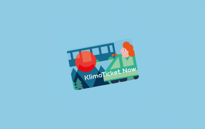 Klimaticket Noew vor blauem Hintergrund