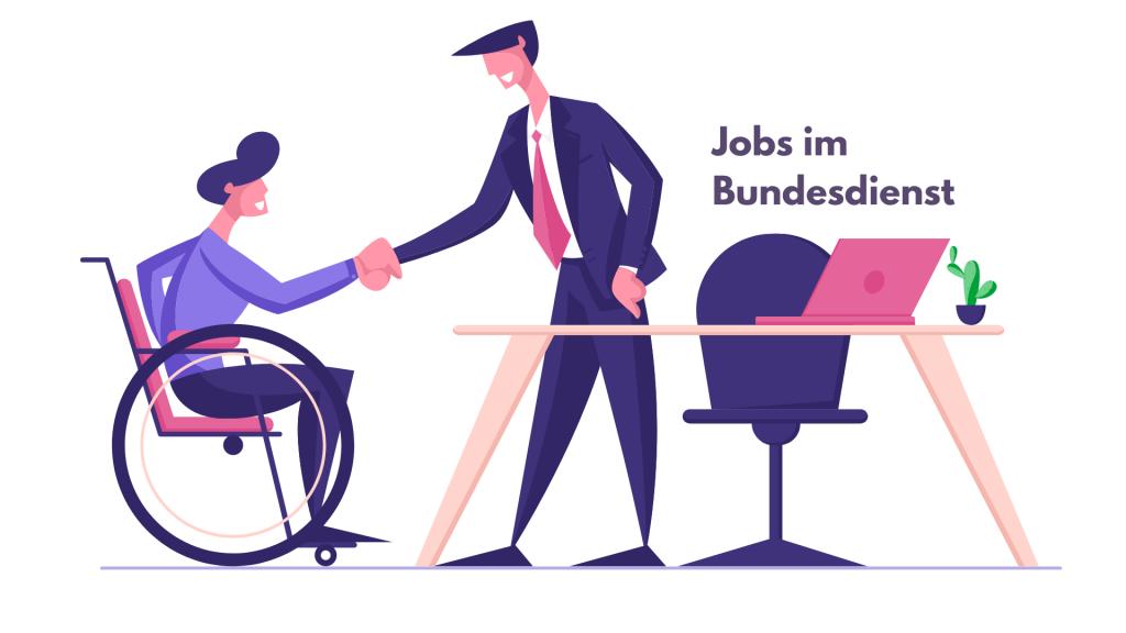 Illustration: Mann hinter Schreibtisch begrüßt Frau im Rollstuhl, Text: Jobs im Bundesdienst, Credit: Canva