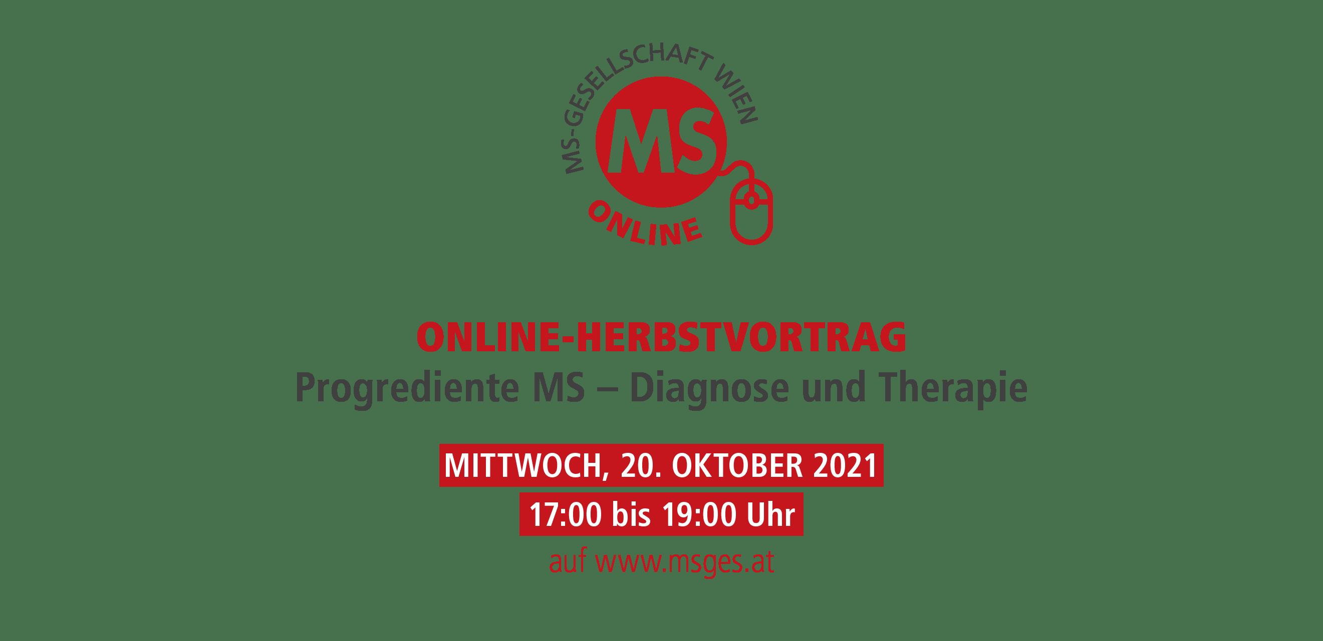 Einladung Herbstvortrag: Progrediente Multiple Sklerose – Diagnose und Therapie