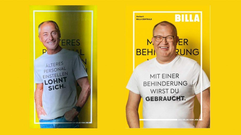 """Auflösung der Teaser-Kampagne mit Slogans """"Älteres Personal einstellen lohnt sich"""" und """"Mit einer Behinderung wirst du gebraucht"""". Credit: Billa"""